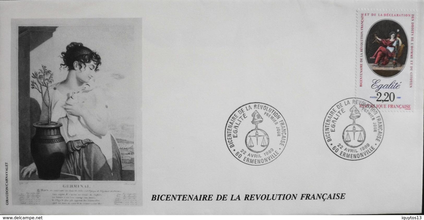 FR. 1989 - Bicentenaire De La Révolution Française - Ermenonville Le 22.4.1989 - En TBE - Révolution Française