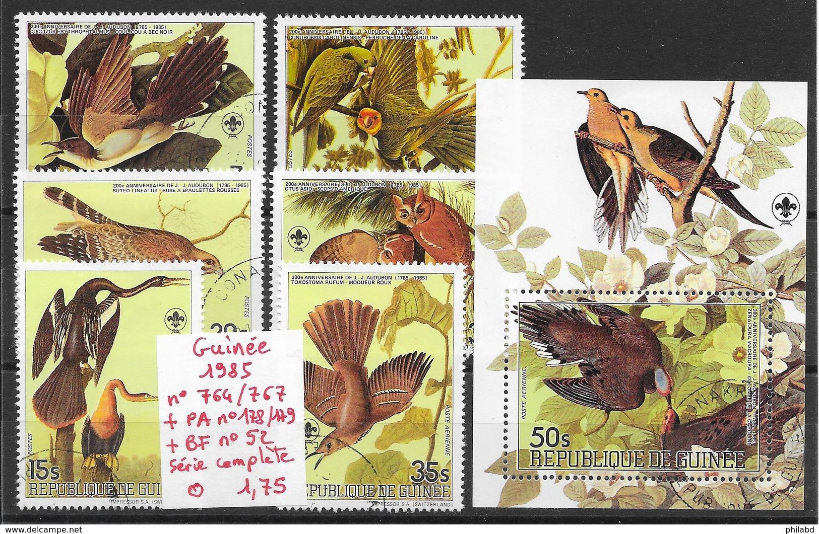Oiseau Cormoran Hibou Perroquet Rapace  - Guinée N°764 à 767, PA N°178 & 179, BF N°52 1985 O - Non Classés