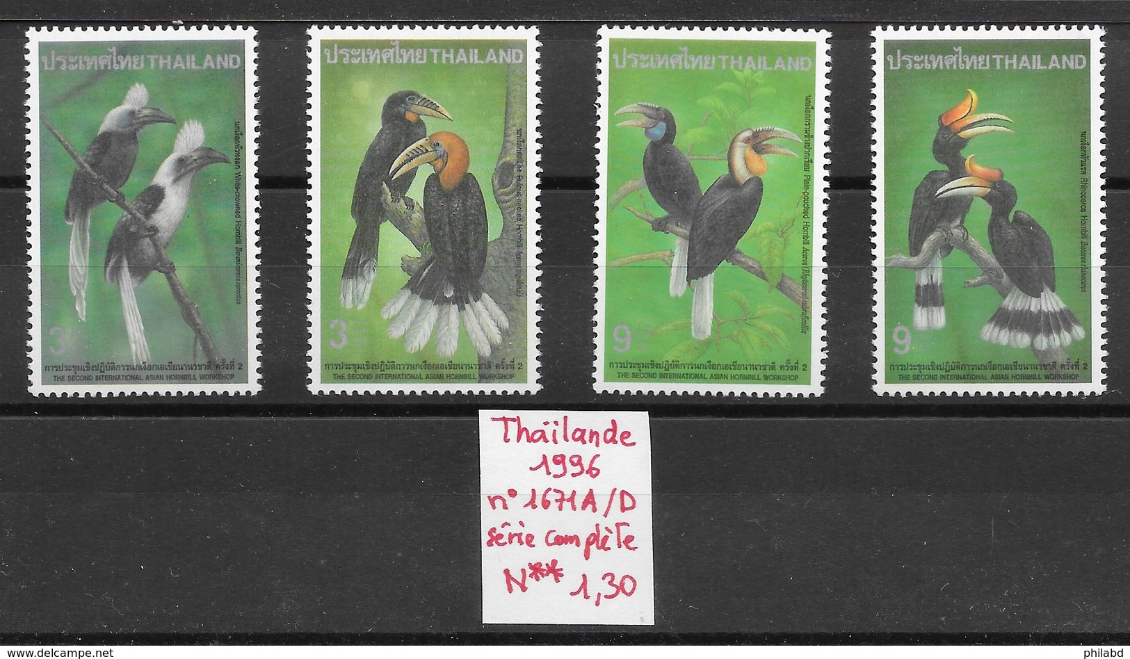 Oiseau Calao - Thaïlande N°1671A à 1671D 1996 ** - Perroquets & Tropicaux