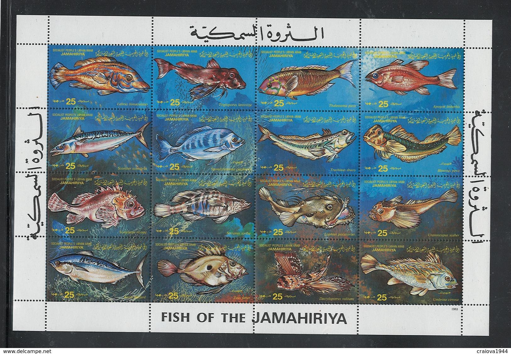 """LIBYA 1983 """"FISH"""" SHEET OF 16 #1107 MNH. - Libye"""