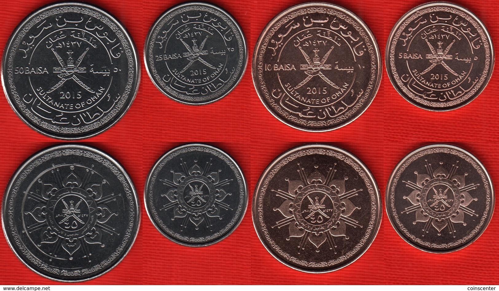 Oman Set Of 4 Coins: 5 - 50 Baisa 2015 UNC - Omán