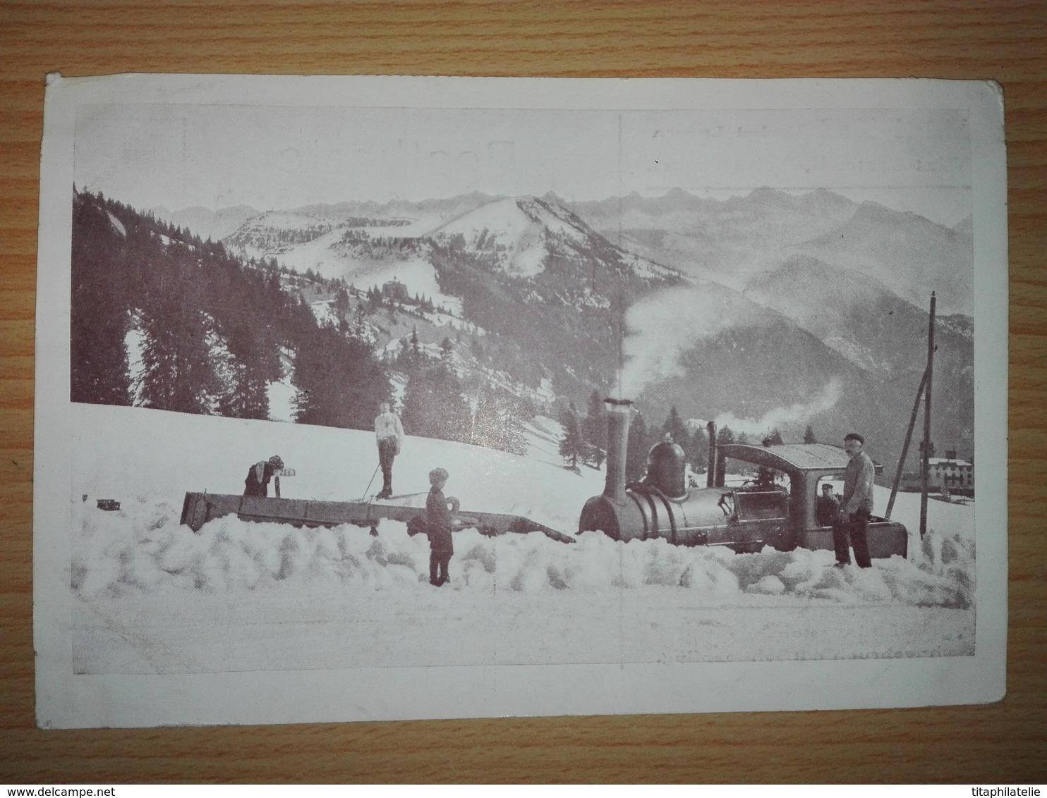 CPA Carte Postale CP Suisse Rigi Bahn Bei Luzern Winterbetrieb Wintersport Train Locomotive Neige Belle Animation - LU Lucerne