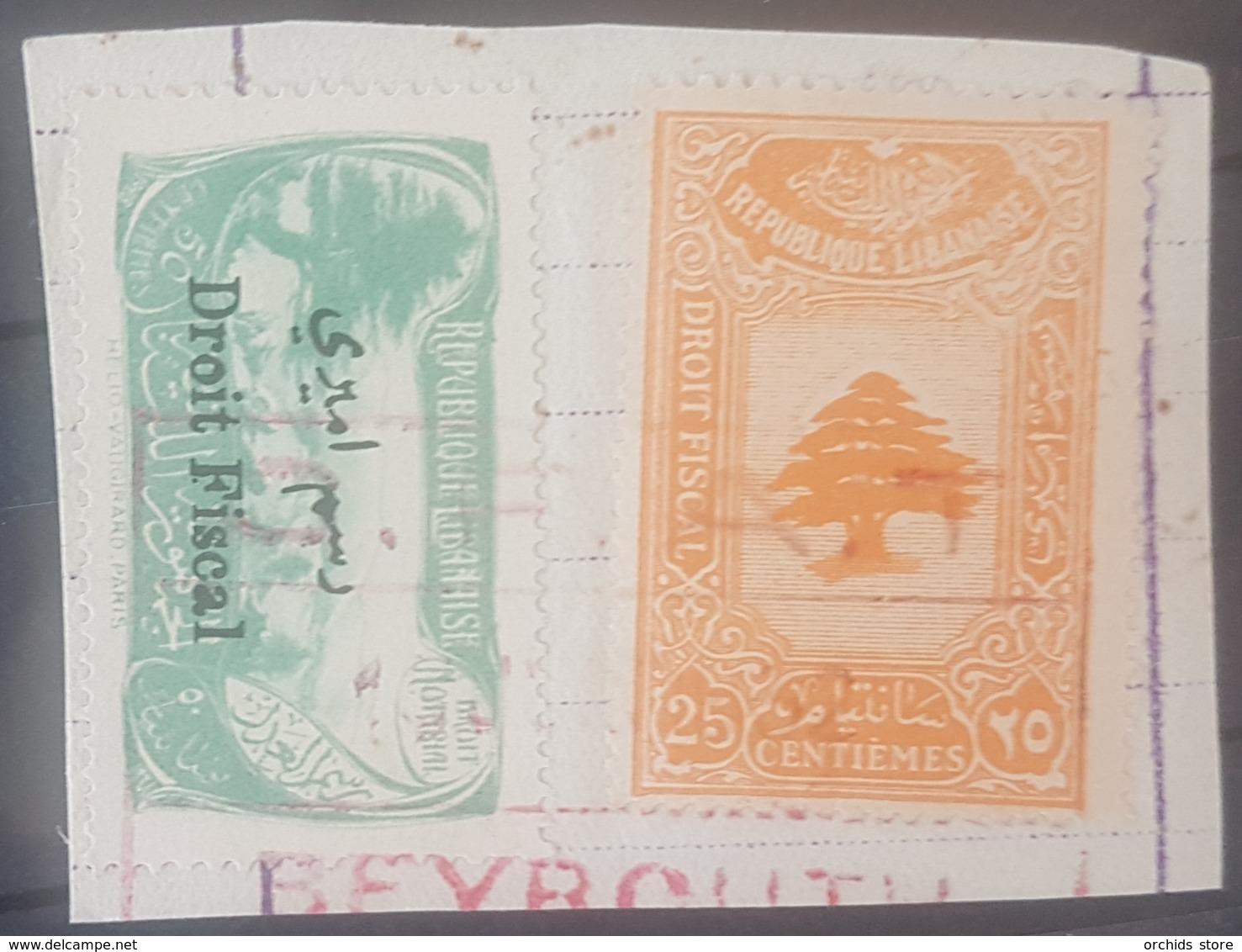 NO11 - Lebanon Cedar Design 20c & The Rare 25 Centiemes Ovpt On C.F.A.T Beyrouth Piece - Lebanon
