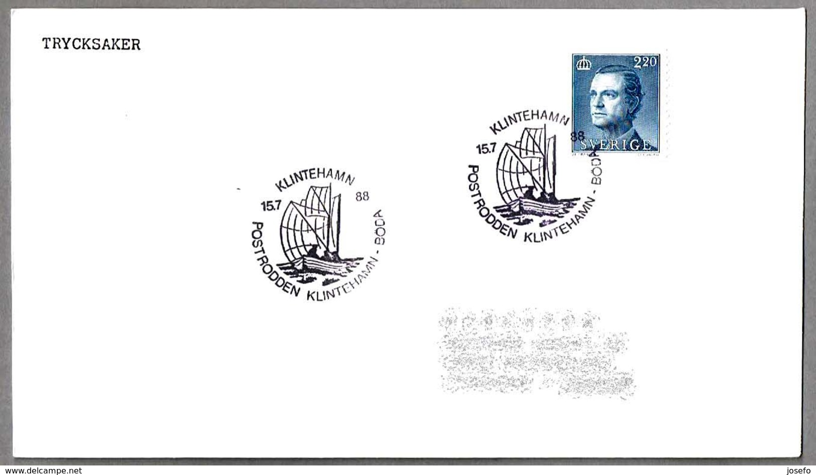 POSTRODDEN KLINTEHAMN - BÖDA. Correo En Barco. Klintenhamn 1988 - Correo Postal