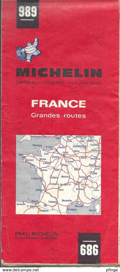 Michelin 989 - France Grandes Routes, 1971 - Cartes Routières