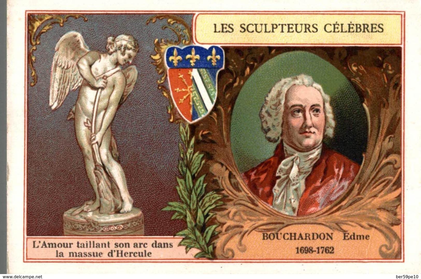 CHROMO  LES SCULPTEURS CELEBRES  BOUCHARDON EDME 1698 - 1762  L'AMOUR TAILLANT SON ARC DANS LA MASSUE D'HERCULE - Trade Cards