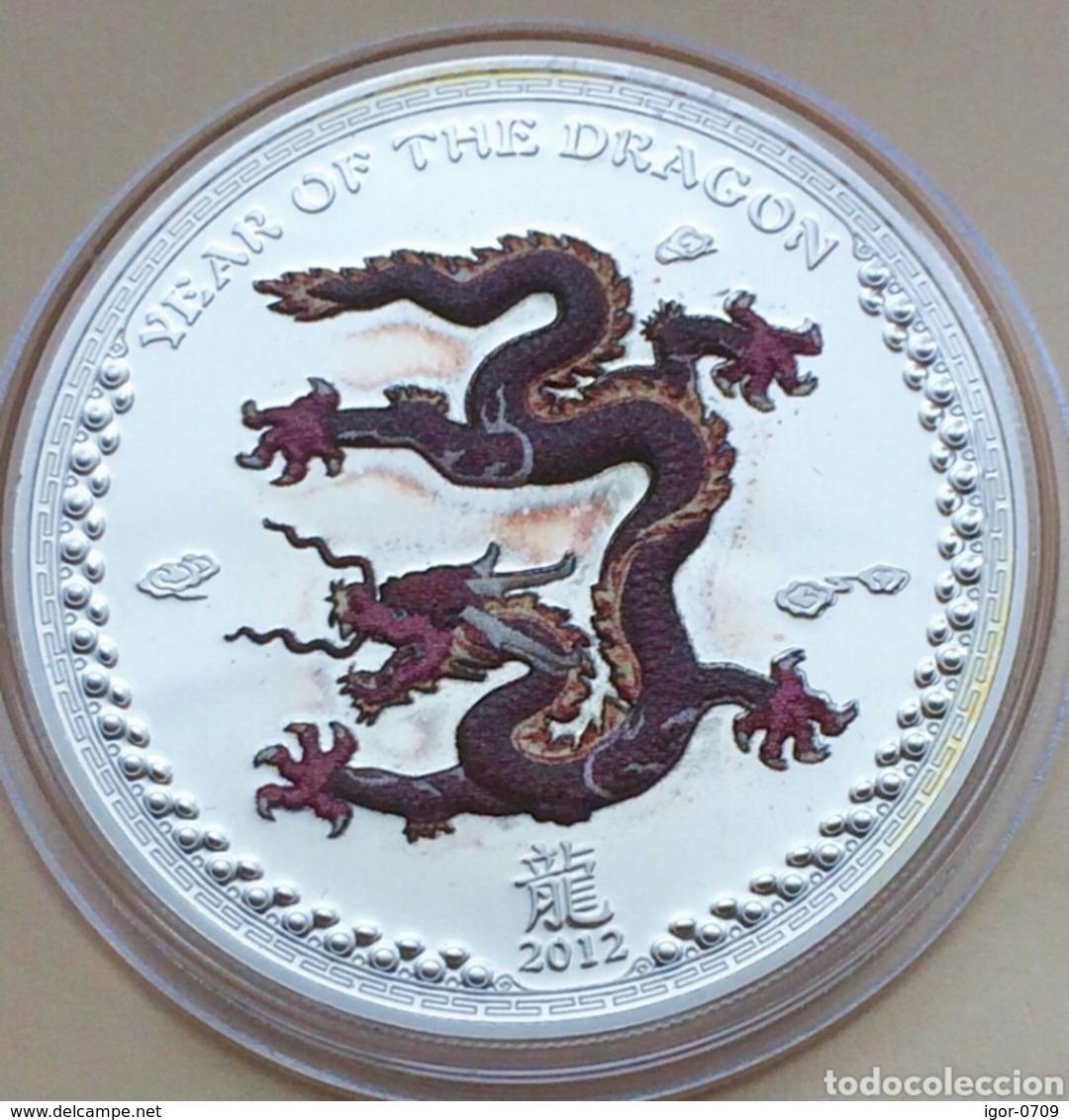 Palau 2012 Year Of Dragon 2 Coins Set. Proof Silver.Original Box And Coa - Palau
