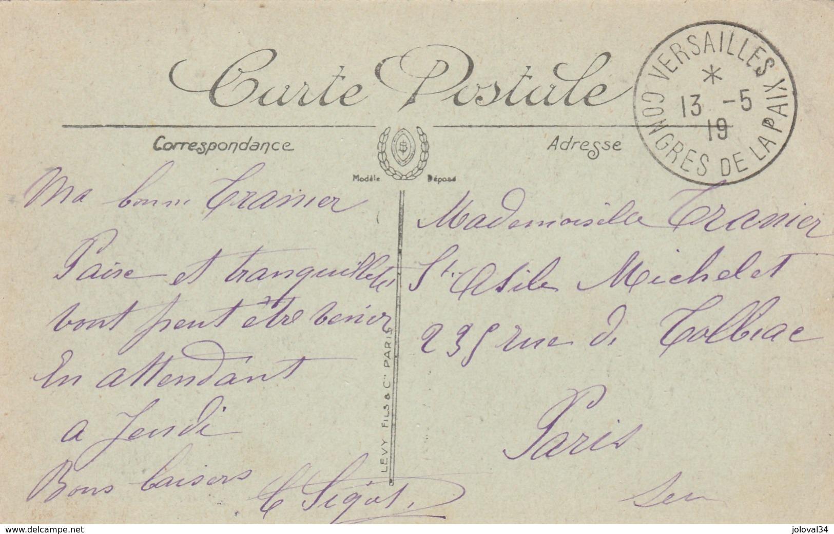Cachet VERSAILLES CONGRES DE LA PAIX  1919 Sur Carte Postale  Trianon  Palace - France