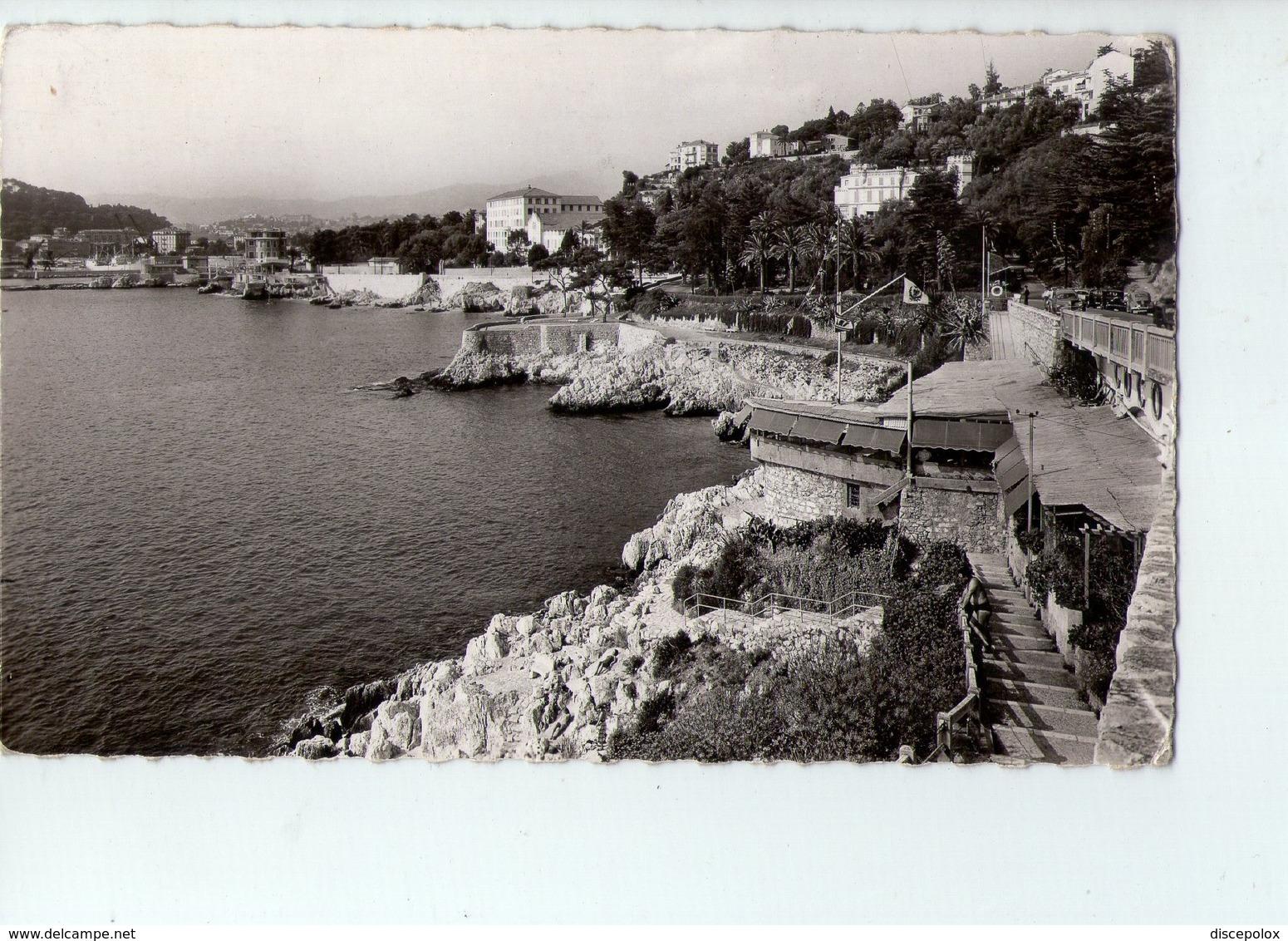 U3594 Small Postcard 1962 NICE (nizza), ROUTE EN CORNICHE DU CAP DE NICE AU PORT + FLAMME: AEROPORT DE NICE - Nizza