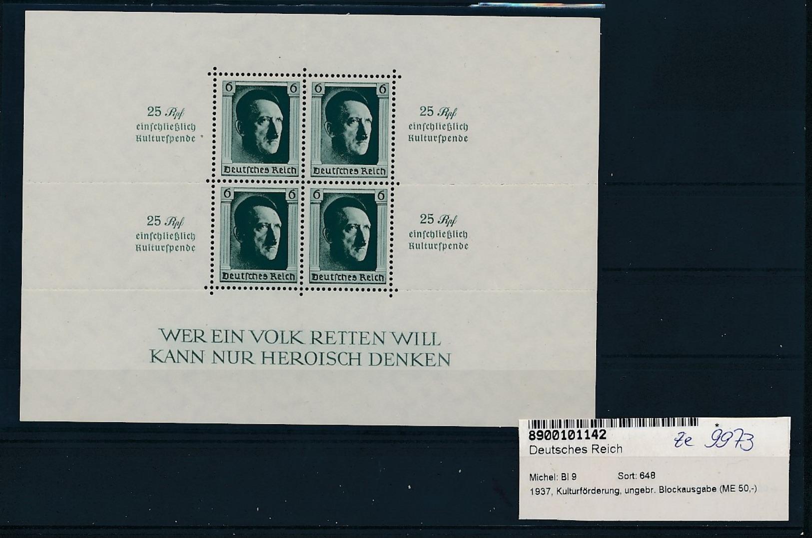 D.Reich - Block  9 *   (ze9973  ) Siehe Scan - Deutschland
