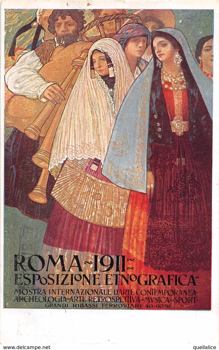 """0612 """"ROMA - 1911 - ESPOSIZIONE ETNOGRAFICA - MOSTRA INT.LE ARTE CONTEMPORANEA..."""" ANIMATA. CART SPED 1911 - Expositions"""