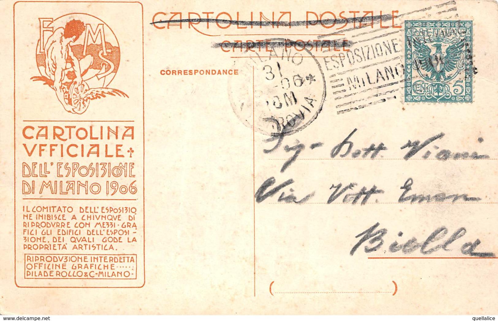 """0613 """"MILANO-ESPOSIZIONE 1906 - PADIG. DEI PALOMBARI IN AZIONE DI ITALO ZANNONI - SPEZIA"""" ANIMATA, FIRMA. CART SPED 1906 - Milano (Milan)"""