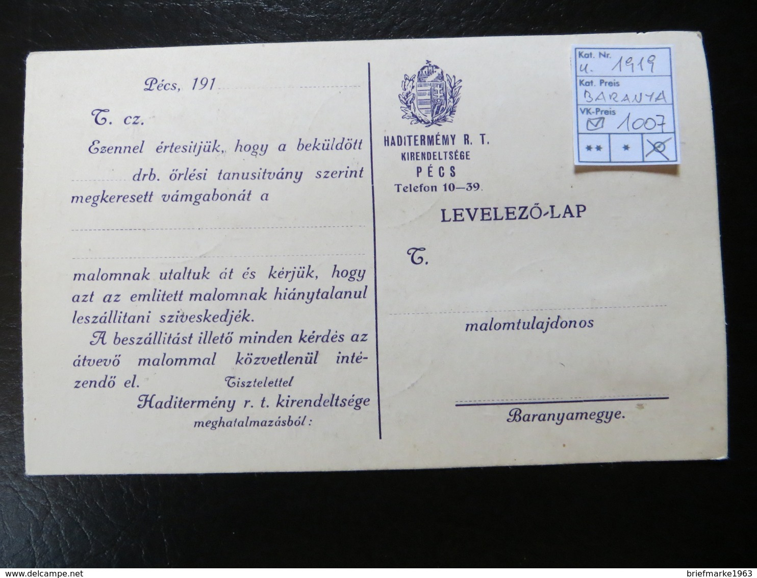 "1919  "" Schnittertyp + Karl  ""  + 80 Filler Parlament,  Dec 23 In PECS Gestempelt, Guter Zustand,   LOT 1007 - Baranya"