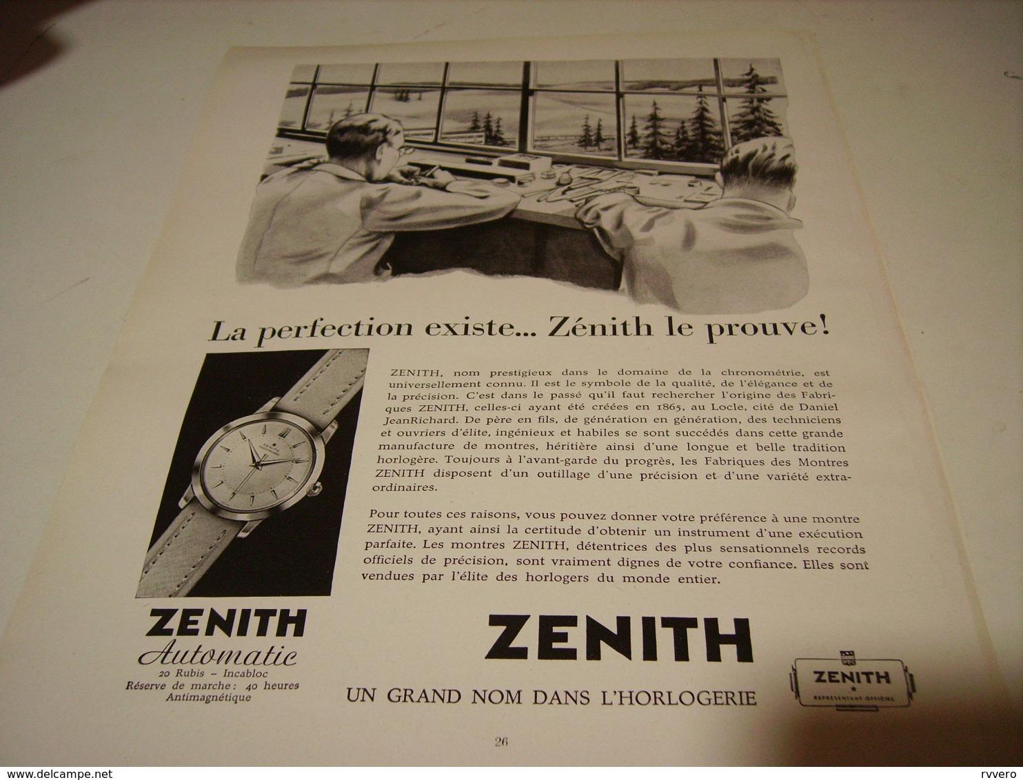 ANCIENNE PUBLICITE LA PERFECTION EXISTE MONTRE ZENITH  1954 - Autres