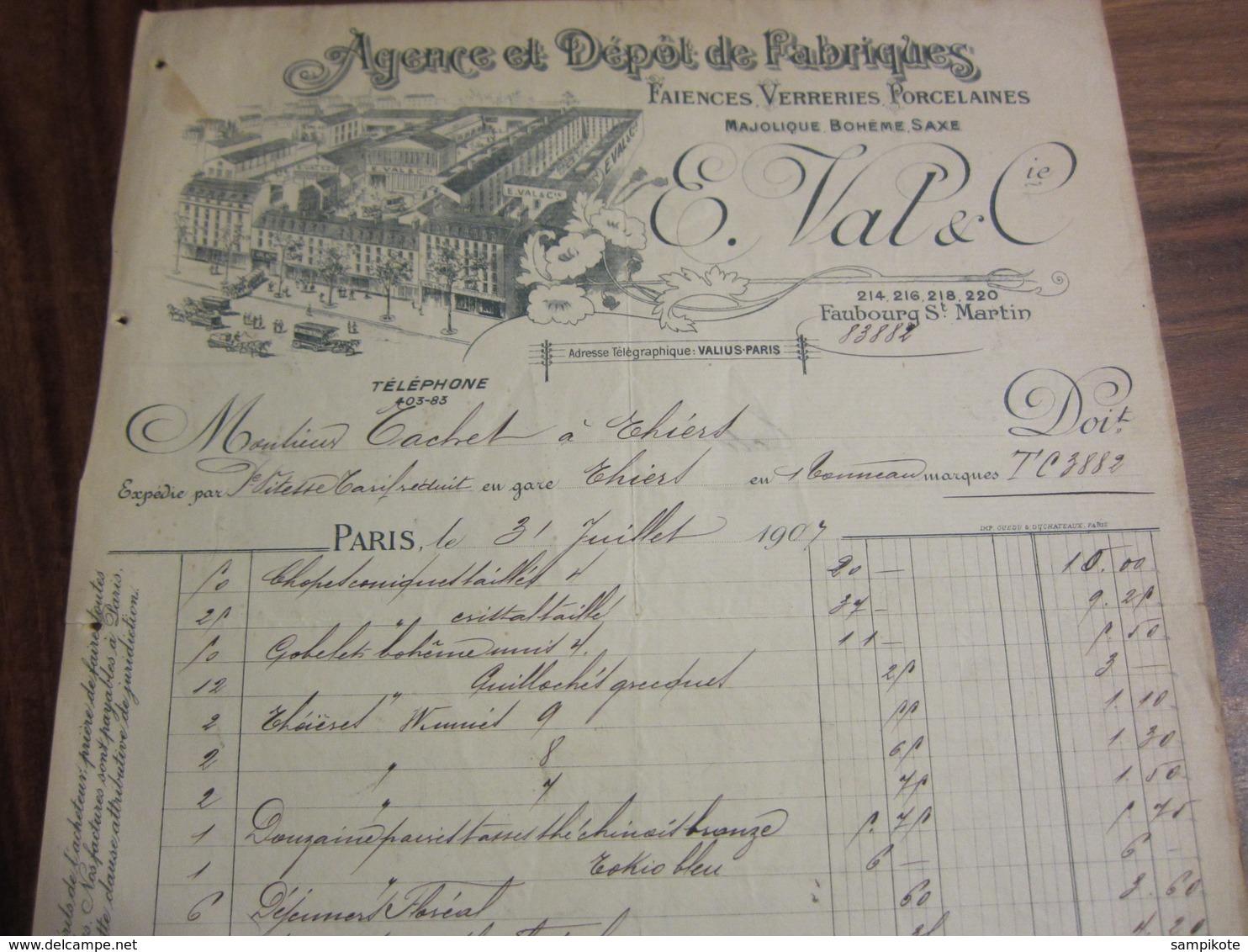 Facture Fabrique De Faïences Verreries Et Porcelaines Val Et Cie à Faubourg Saint Martin 1907 - Altri