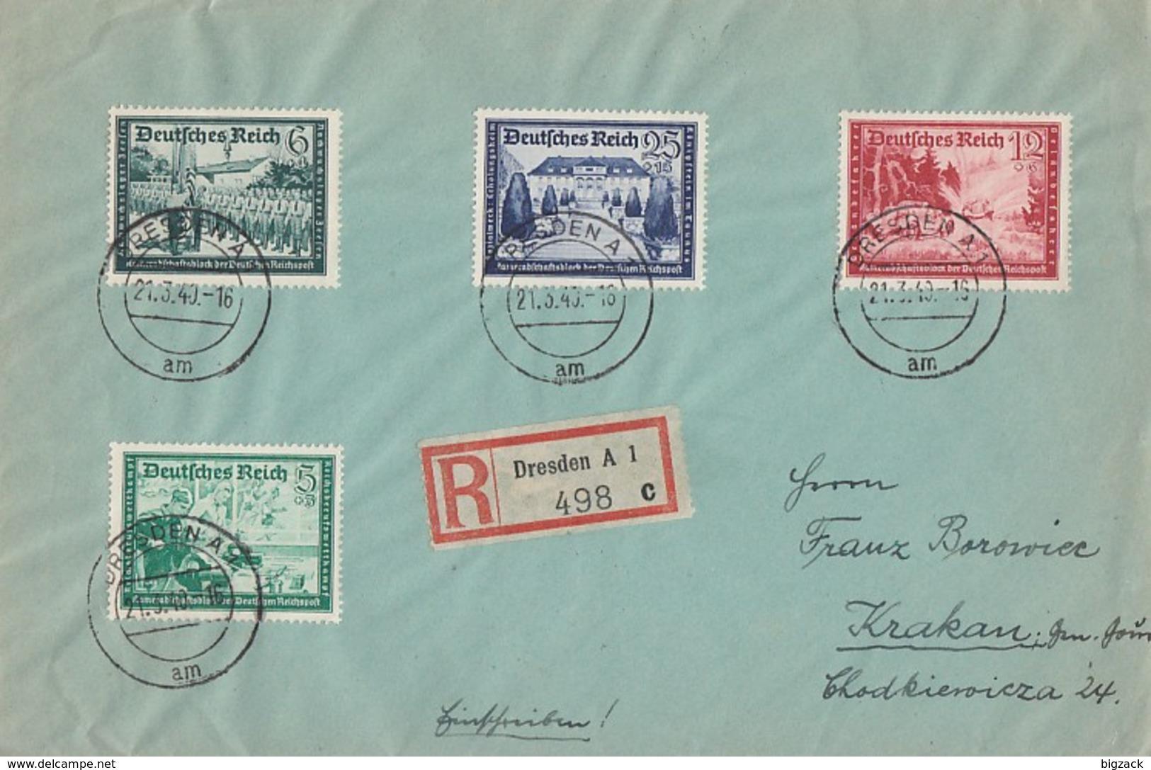 DR R-Brief Mif Minr.704,705,708,713 Dresden 21.3.40 - Deutschland