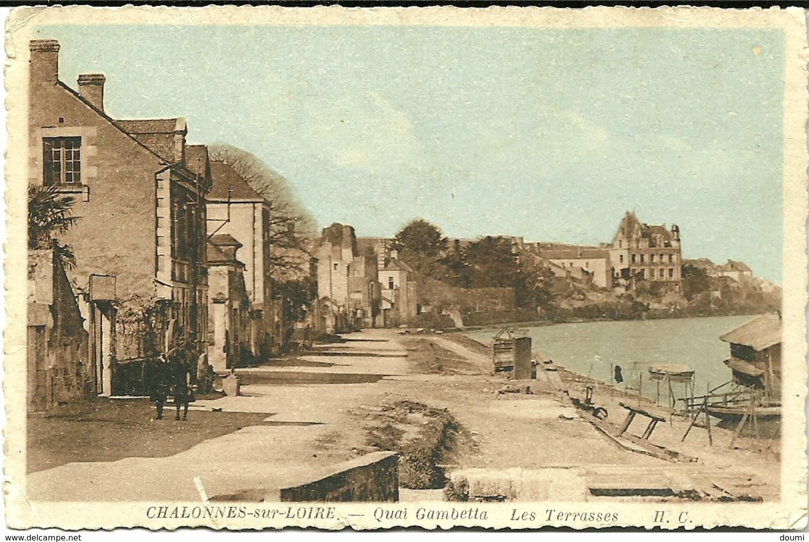 49 CHALONNES Sur LOIRE Quai Gambetta  Les Terrasses CPA écrite En 1943 - Chalonnes Sur Loire