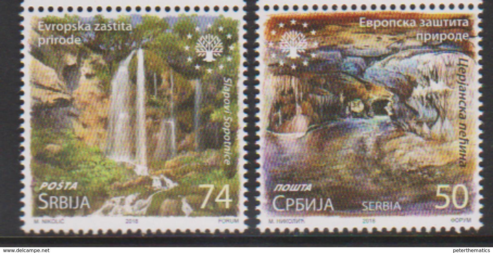SERBIA, 2018,MNH, EUROPEAN NATURE PROTECTION, WATERFALLS, CAVES, 2v - Geology