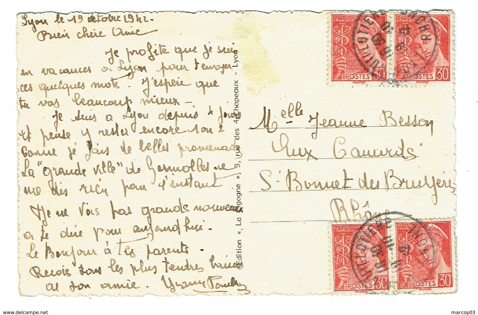 RHONE 69 LYON GUILLOTIERE 19/10/1942 CP Affr 4 X 30 C Mercure 412 TTB - Poststempel (Briefe)