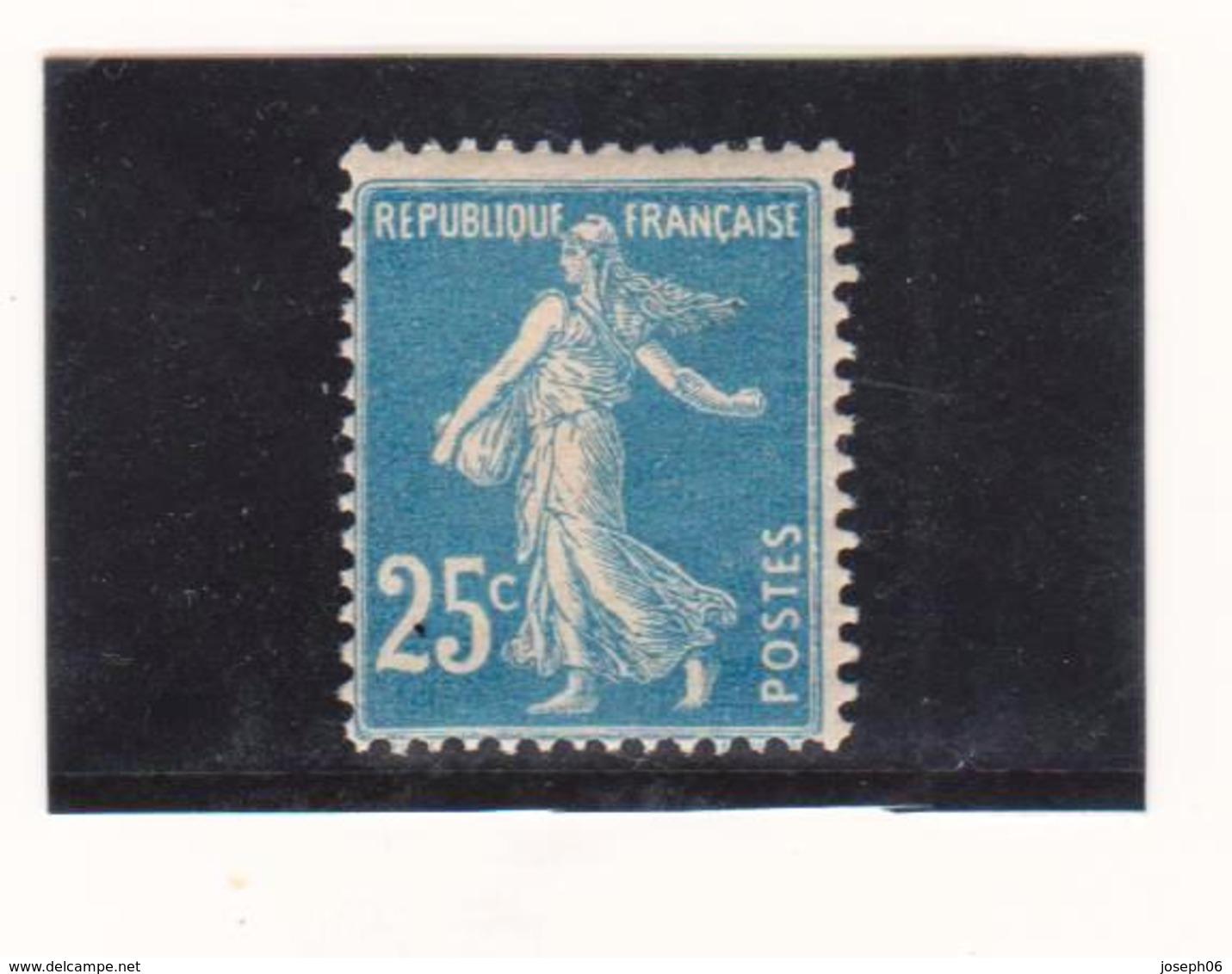 FRANCE   1907  Y.T. N° 140e  Bleu II  NEUF*  Charnière - 1906-38 Semeuse Camée