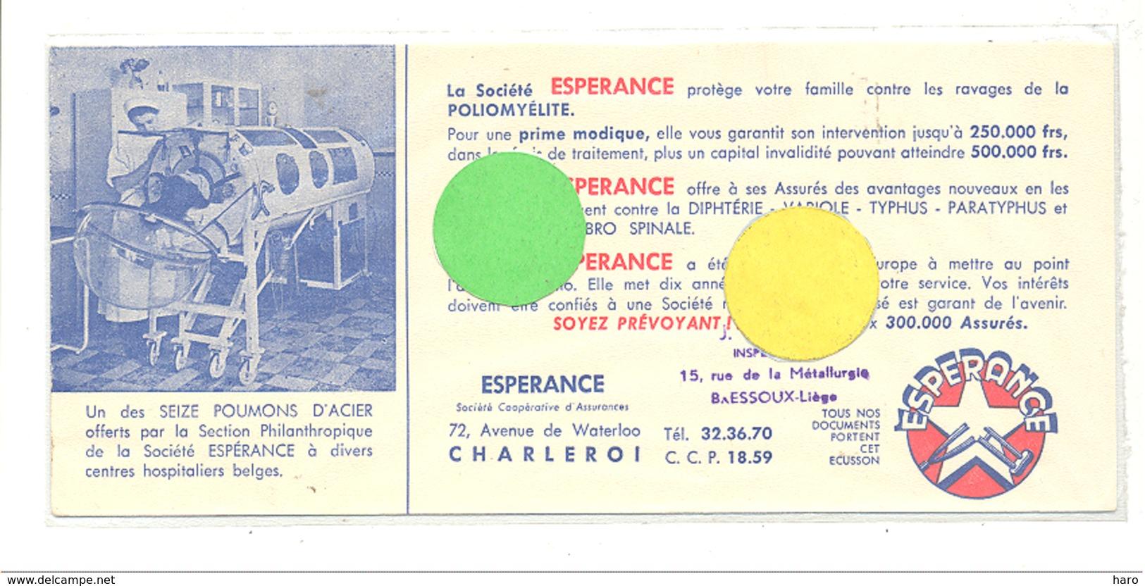 """Buvard - La Société """" L'Espérance """" Assurances  - Assurance Polio ( Plliomyélite ), Poumons D'acier, Medecine,... (b239) - Buvards, Protège-cahiers Illustrés"""