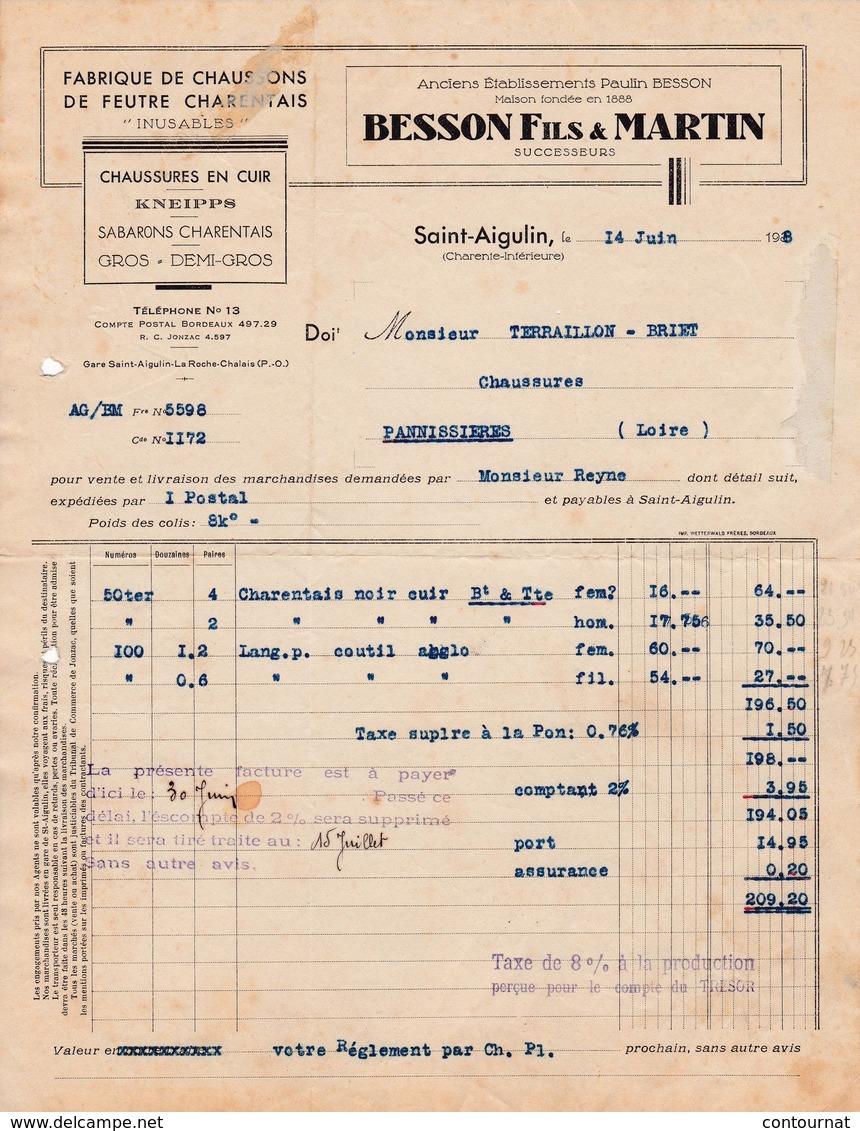 17 SAINT AIGULIN St Charente  FACTURE 1938 Fabrique De Chaussons De Feutre Charentais BESSON & MARTIN  A81 - France