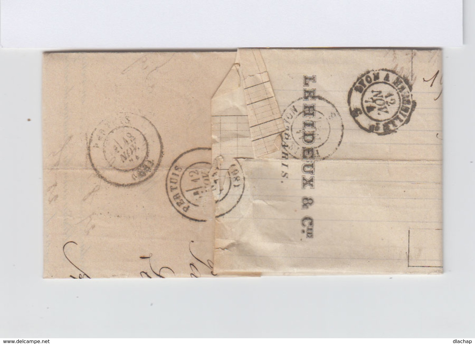 Sur Lettre Type Céres 40 C. Orange Oblitération étoile CAD Paris Place De La Bourse 1874. Vers Pertuis. (841)841 - 1849-1876: Classic Period