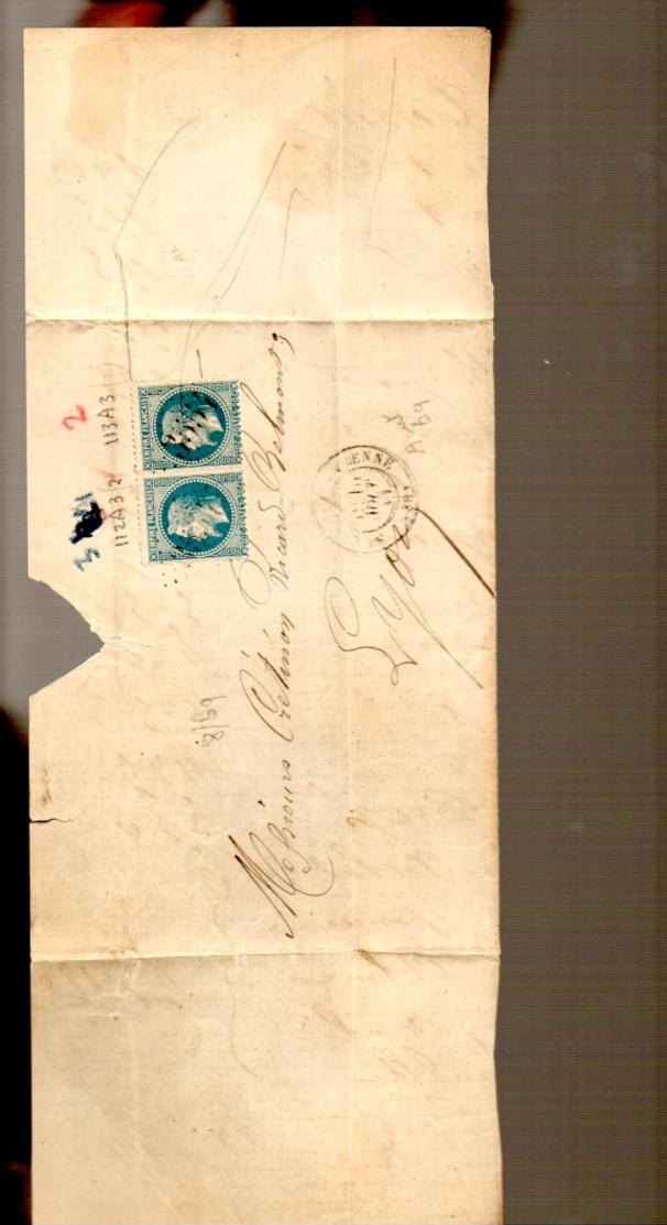 40 Cts Grand Chiffres 3554 = Saint-Claude-sur-Bienne > Crétinon Ricard-Belmont à Lyon  (EO7-502) - 1863-1870 Napoléon III Lauré