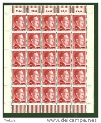 DSP169a/ Lll-REICH  Hitler Markwerte (4 .Bögen)) , Kleinbogensatz, Mi.Nr. 799-802 **   (ungefaltet) Sehr  Gute Erhaltung - Deutschland