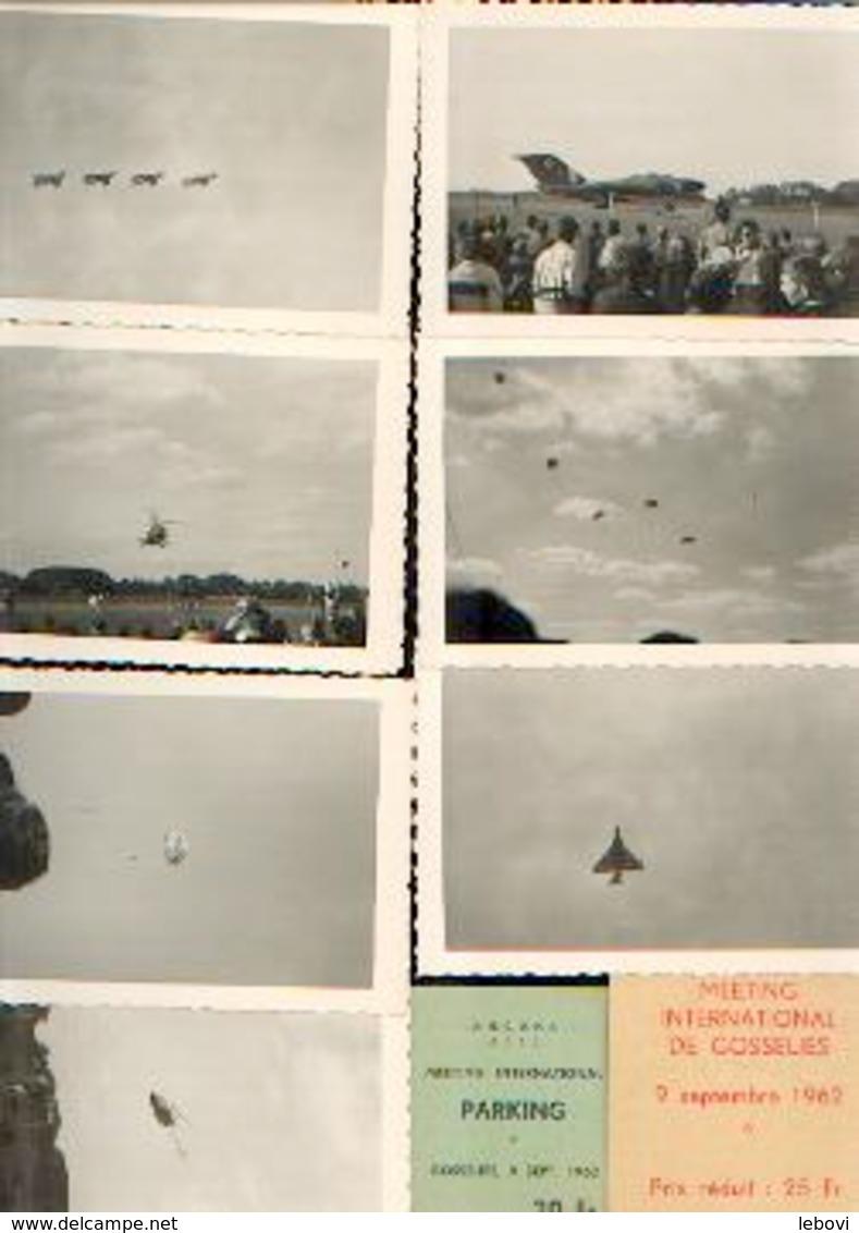 Meeting D'aviation De GOSSELIES (09/09/1962) – Lot De 8 Photos Inédites + Tickets D'entrée Et De Parking - Aviation