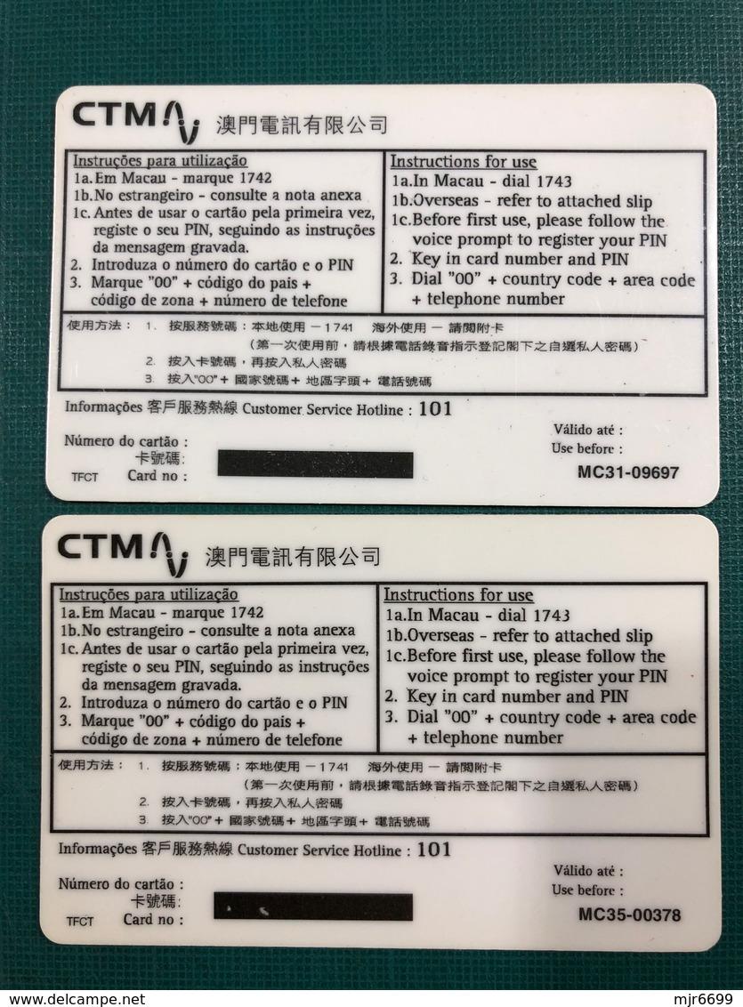MACAU-CTM 1997 COMMEMORATING DENG XIAO PENG PHONE CARD SET OF 2 - UNUSED - - Macao