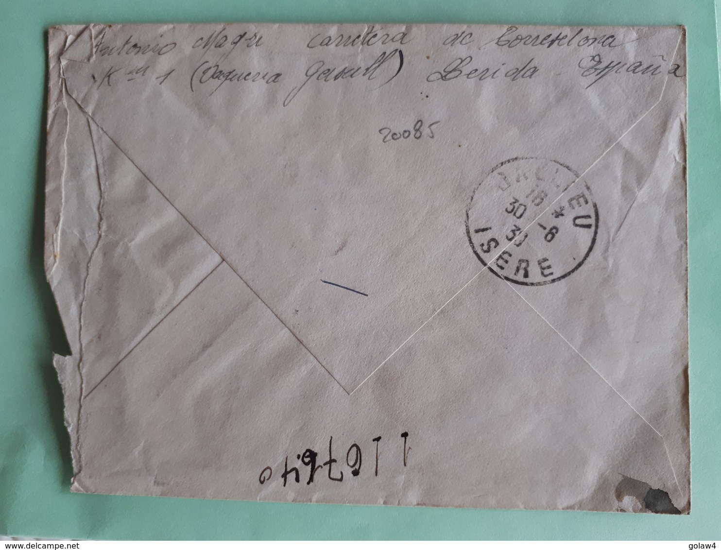 20085# ESPAGNE LETTRE CORRESPONDENCIA URGENTE CENSURE CENSURADA LERIDA Pour JALLIEU ISERE 1939 ESPANA - 1931-Oggi: 2. Rep. - ... Juan Carlos I