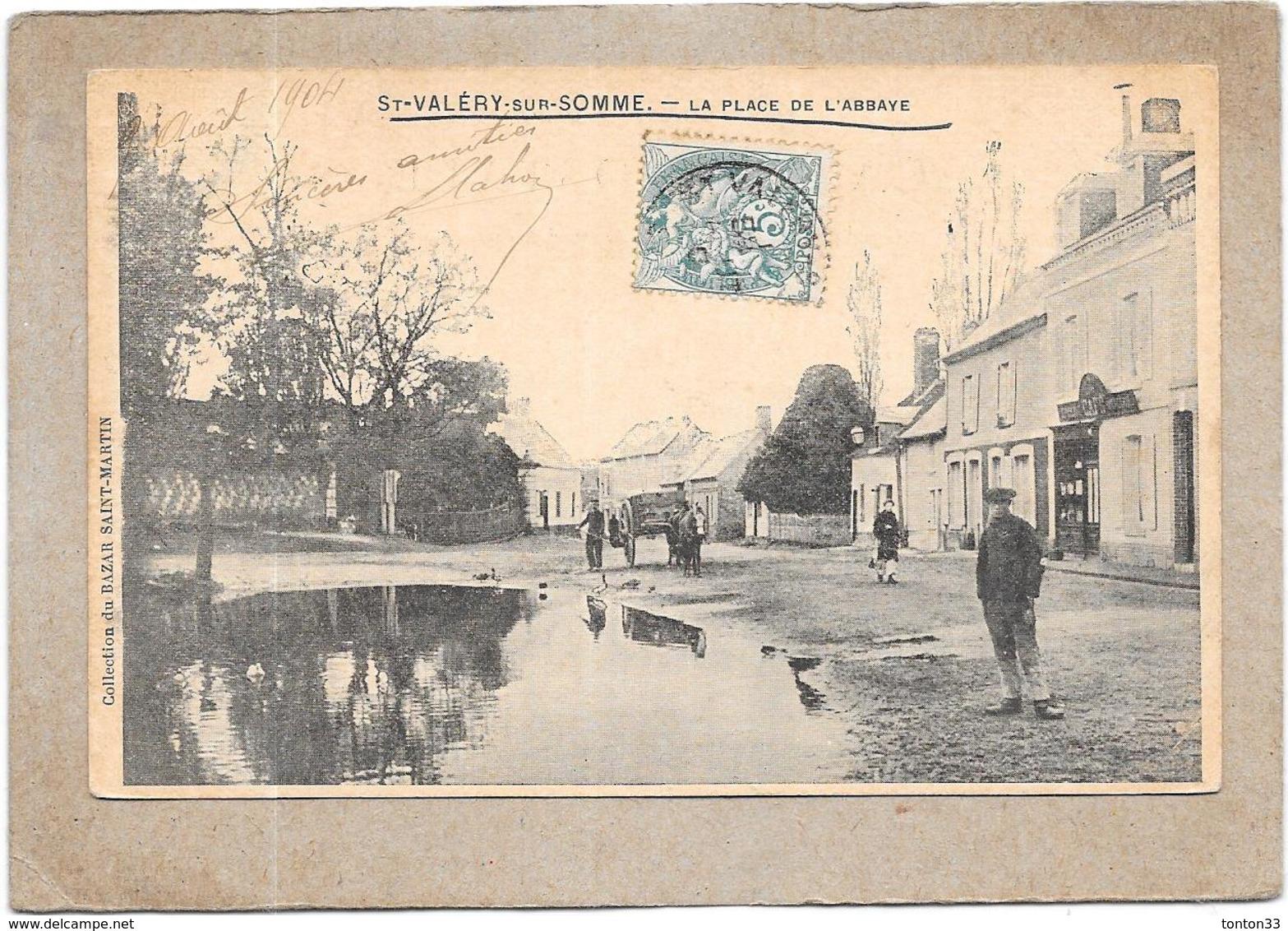 SAINT VALERY SUR SOMME - 80 -  CPA DOS SIMPLE - La Place De L'Abbaye  - DELC5** -- - Saint Valery Sur Somme