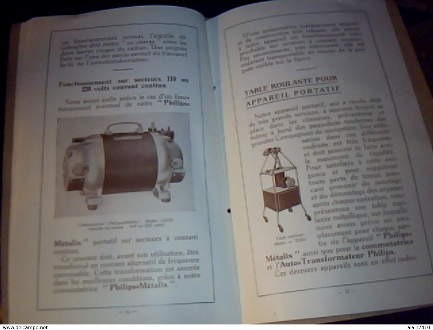 Livret Technique Publicitaire Materiel Medical Ancien PORTATIF A  RAYON X PHILIPS  METALIX  19 Pages Annee1930 - Pubblicitari