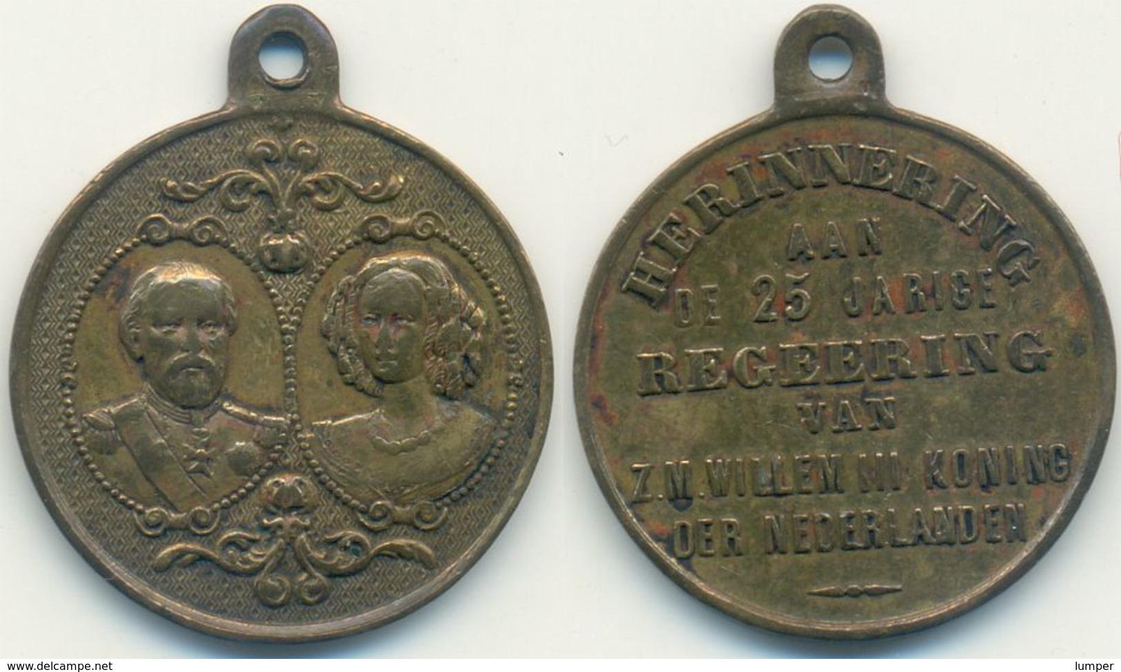 Medaille Niederlande 1874, Wilhelm III. Erinnerung An 25 Jahre Regierung - Pays-Bas