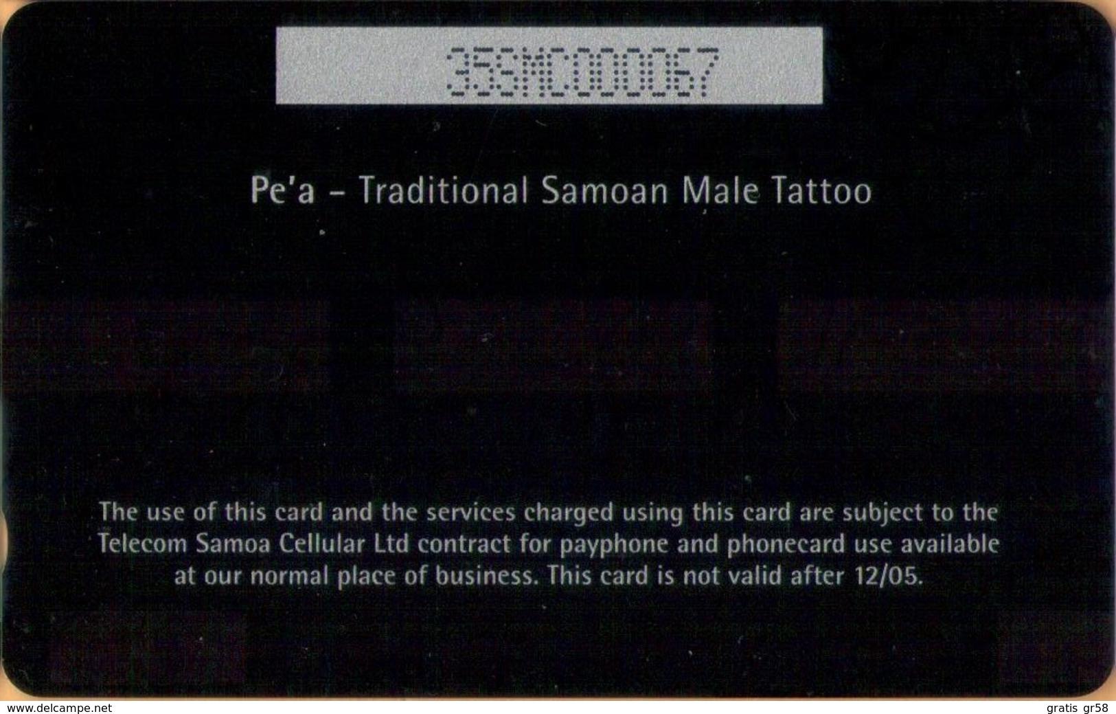 Samoa - GPT, 35SMC, Pe'a - Traditional Samoan Male Tattoo, 5 WS$, 2002, Mint - Samoa