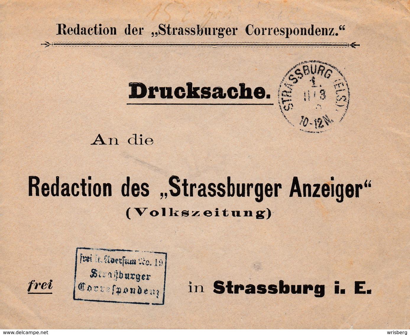 Env Frei Lt Aversum Nr 19 / Straßurger / Correspondenz Obl STRASSBURG (ELS) 1. E Du 11.3.89 Pour Strasbourg - Poststempel (Briefe)