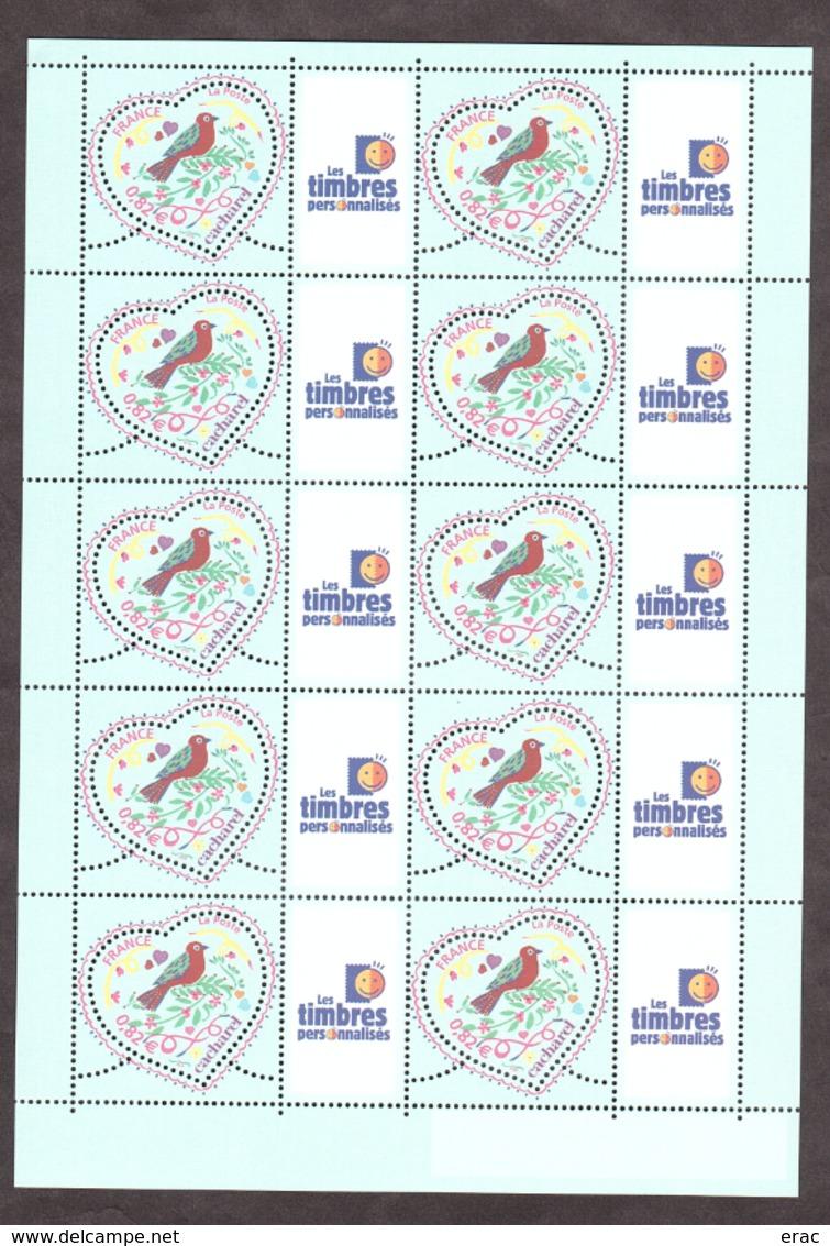 """2005 - Feuille F3748A - Neuf ** - Saint Valentin - Coeur De Cacharel - Vignette """"Les Timbres Personnalisés"""" - France"""
