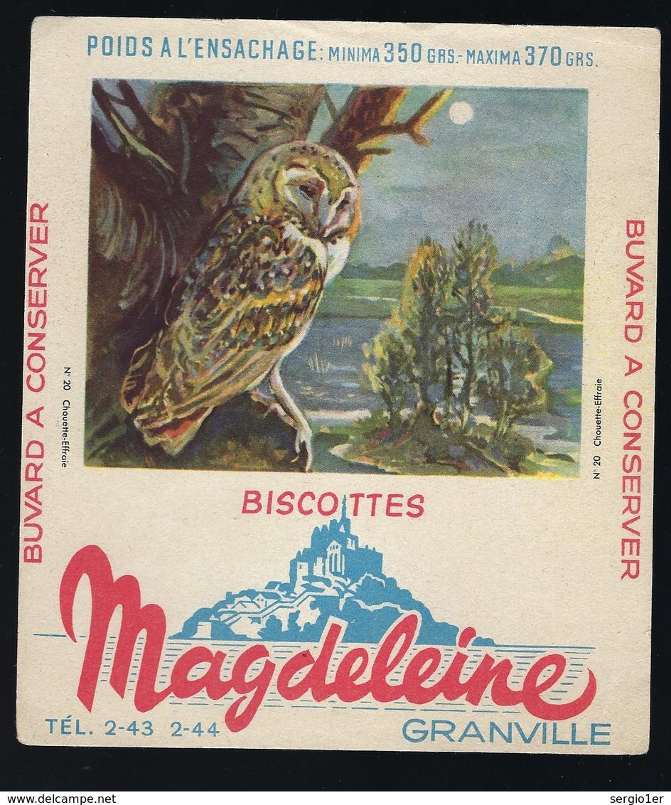 """Buvard  Biscottes Magdeleine  Granville """"chouette Effraie"""" - Animaux"""