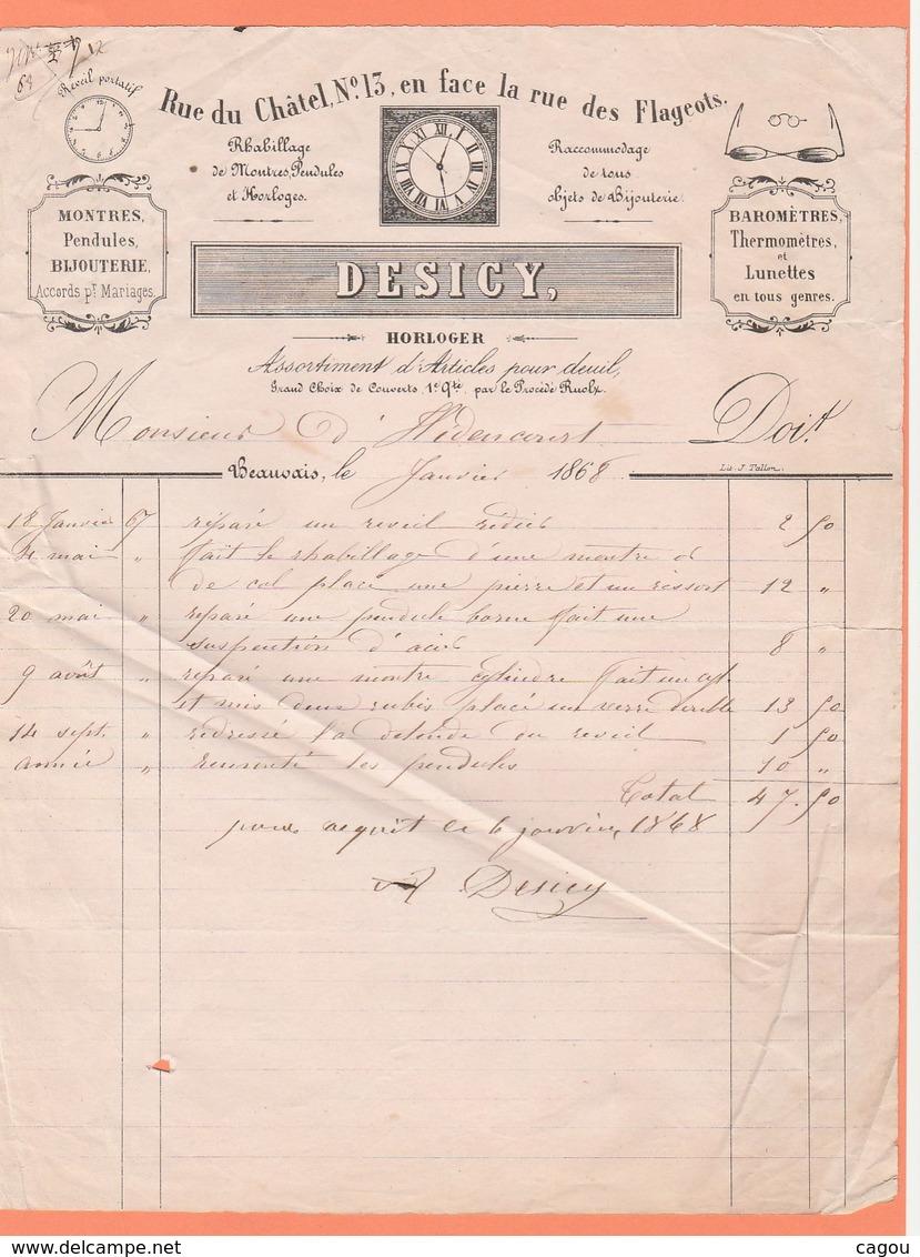 FACTURE DESIGNY HORLOGER RUE DU CHÂTEL N° 13 MONTRES PNDULES BIJOUTERIE BAROMETRES LUNETTES A BEAUVAIS - Francia