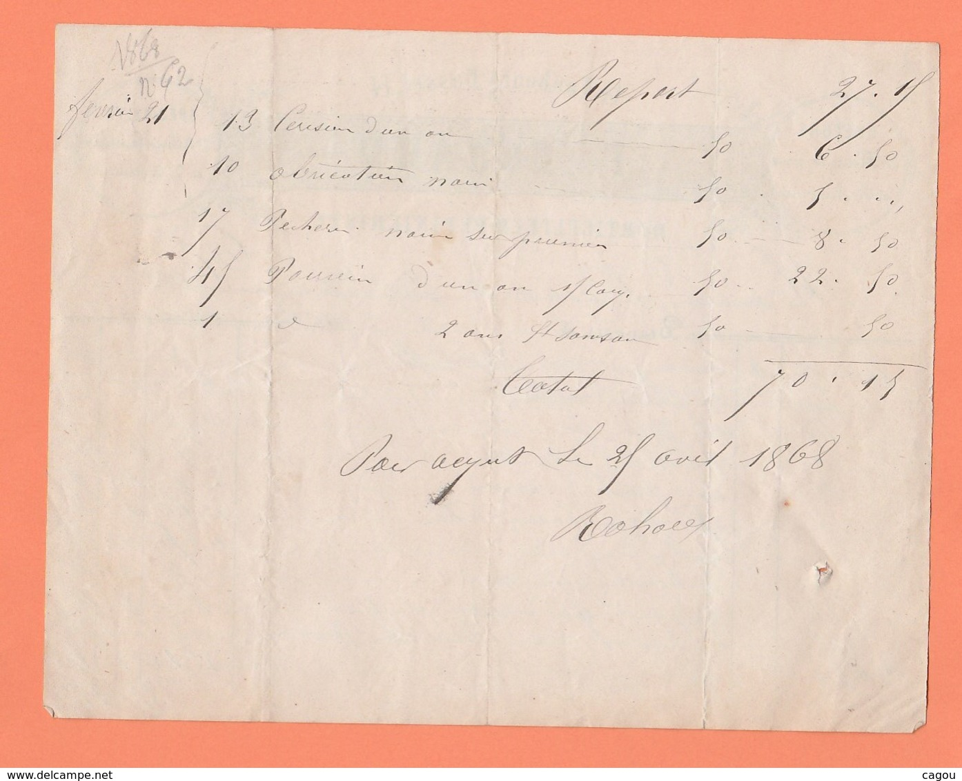 FACTURE F. ROHARD 14 Fg BASSET HORTICULTEUR PEPINERISTE FLEURS DE SERRE ARBRES FRUITIERS A BEAUVAIS - 1800 – 1899