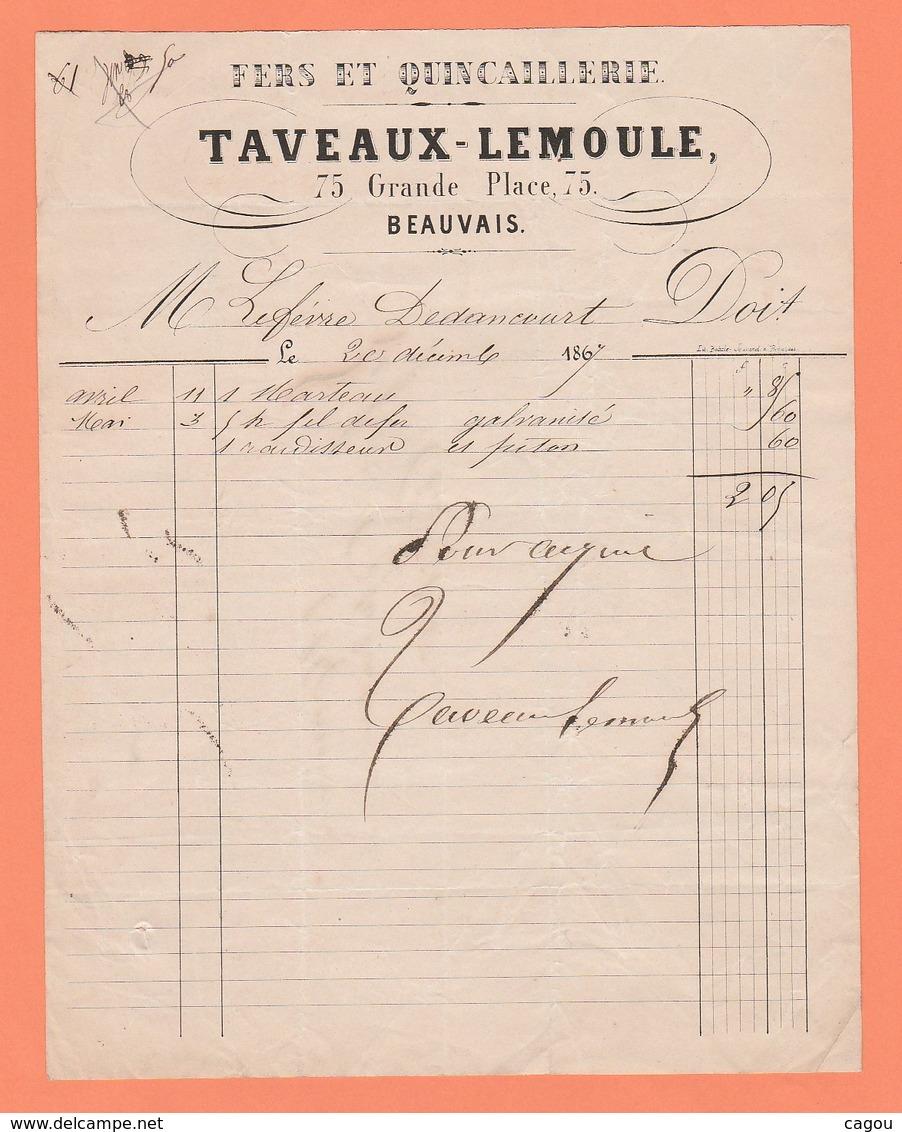 FACTURE TAVEAUX-LEMOULE 75 GRANDE PLACE 75 BEAUVAIS FERS ET QUINCAILLERIE - Francia