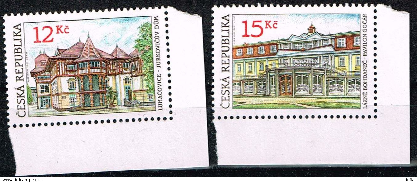 Tschechien 2007, Michel # 512 - 513  Architektur Marken Ohne Gummierung - Czech Republic