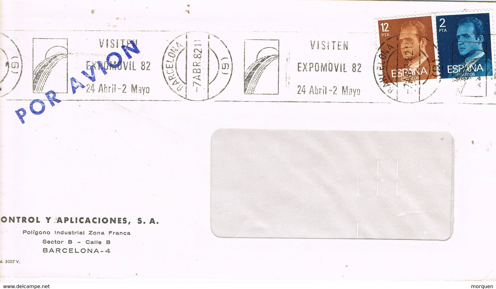 30452. Carta BARCELONA 1982. Rodillo Expomovil 82. Salon Automovil - 1981-90 Cartas