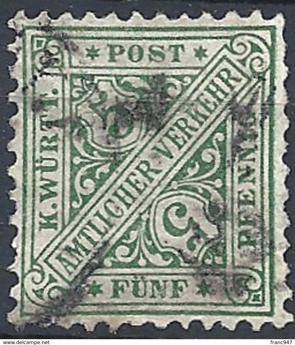 Württemberg, 1890 OFFICIAL 5pf Dk Unwmk # Michel 209 - Scott O98 - Yvert S17 USED - Wurtemberg