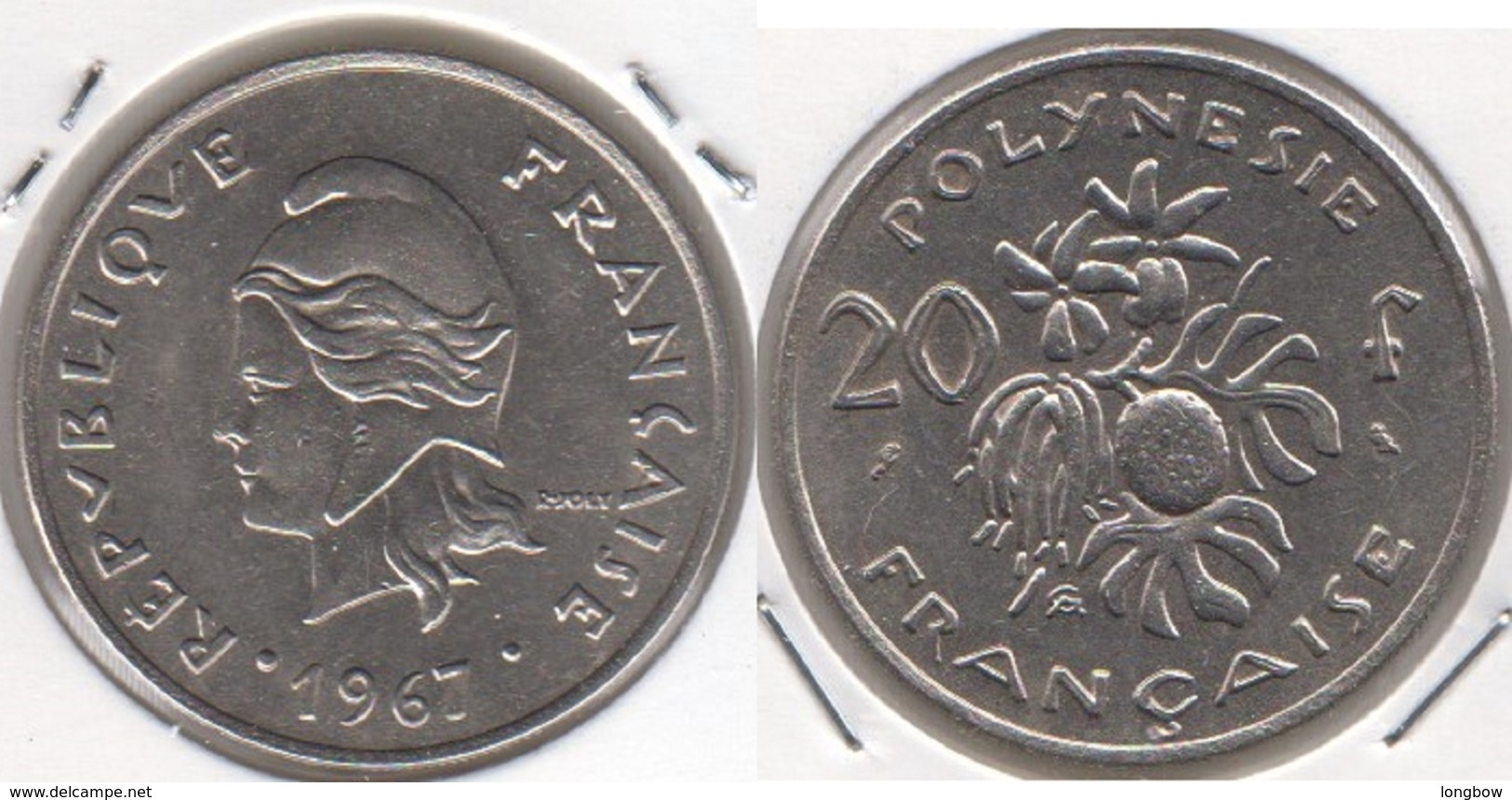 Polinesia Francese 20 Francs 1967 KM#6 - Used - Polynésie Française