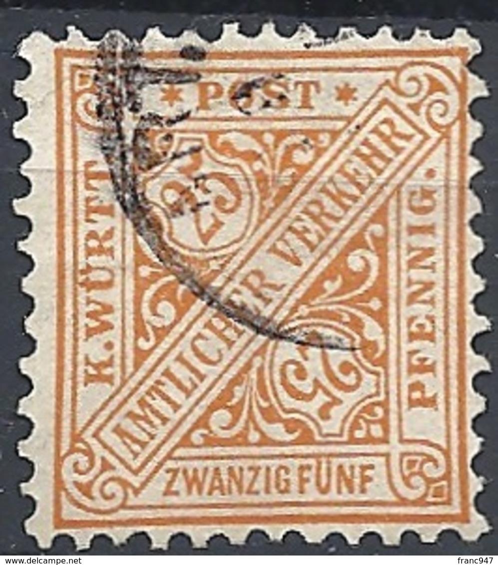 Württemberg, 1890 OFFICIAL 25pf Dk Unwmk # Michel 210 - Scott O101 - Yvert S18 USED - Wurtemberg