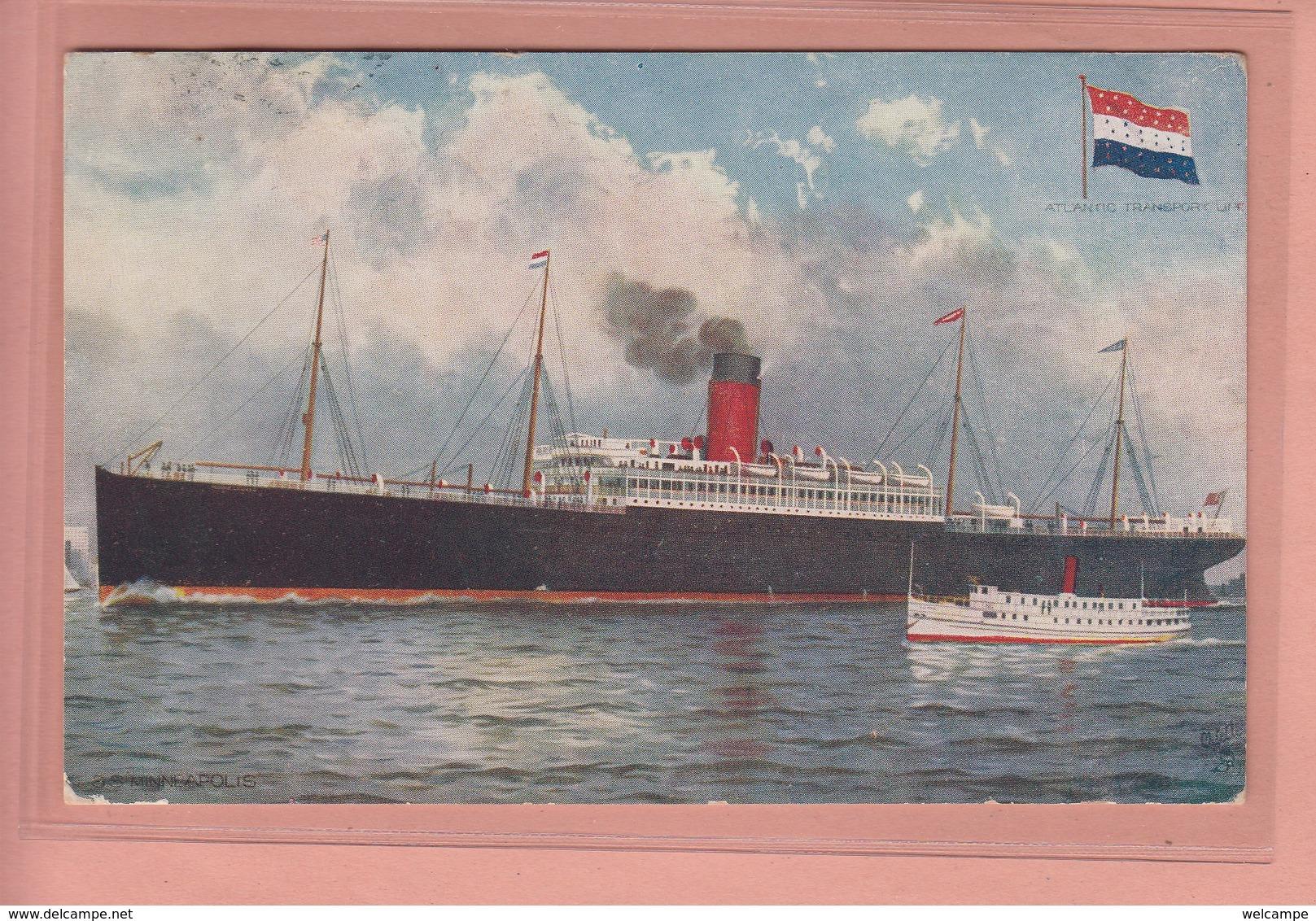 OLD POSTCARD - SHIPPING -   ATLANTIC TRANSPORT - S.S. MINNEAPOLIS - Paquebots