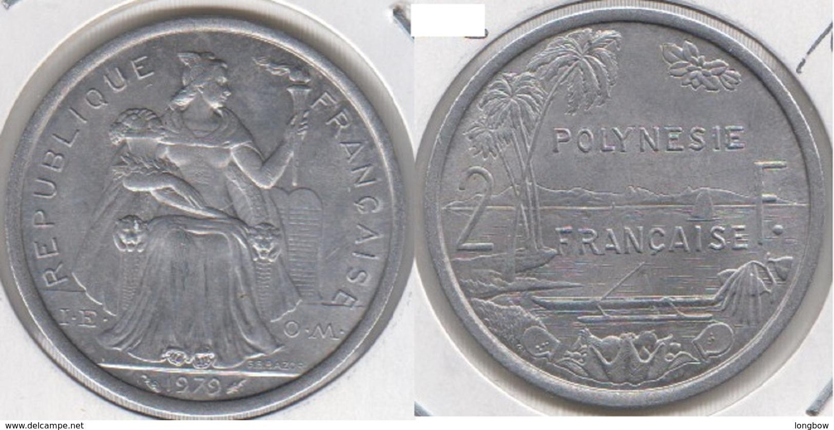 Polinesia Francese 2 Francs 1979 KM#10 - Used - Polynésie Française