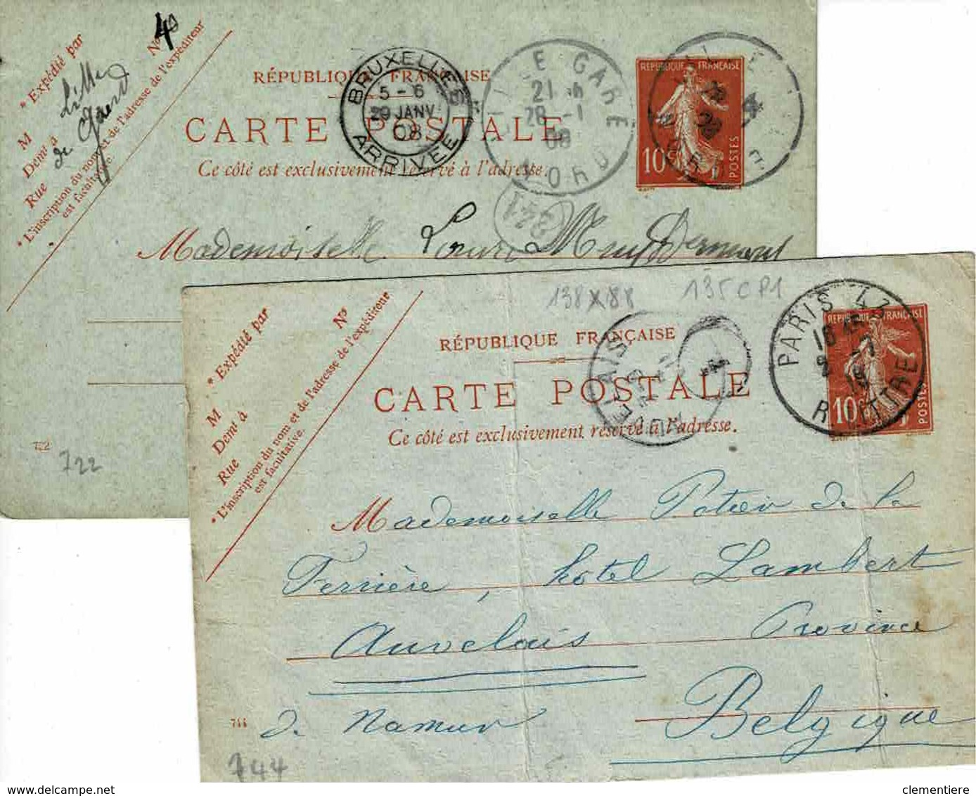 Deux Cartes 135 CP 1, Dates  744 Et 722, 135 X 88 Mm De Paris Et Lille Pour Bruxelles - Enteros Postales